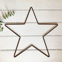 59cm Rusty Metal Star Outline Wire Hanging Wall Mantle Garden Xmas Decoration
