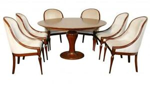 Mahogany Art Deco Dining Set - Table and Six Chairs