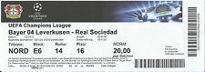 TICKET - 2013 - 2014 CHAMPIONS LEAGUE BAYER 04 LEVERKUSEN – REAL SOCIEDAD - STUB