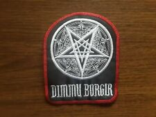 DIMMU BORGIR + LOGO,SEW ON WHITE WIYH RED EDGE EMBROIDERED PATCH