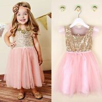 Kids Baby Girl Toddler Princess Pageant Party Sequins Wedding Tulle Tutu Dresses