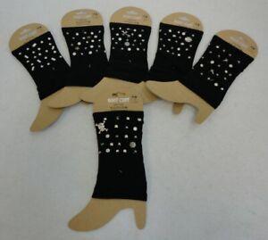 Ladies Boot Cuffs Knitted Stretch BLACK WITH STUDS Women's Leg Warmer Cuff