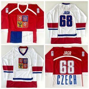 Custom Retro Jaromir Jagr #68 Czech Republic Hockey Jersey Sewn White Red Names