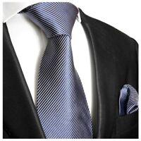 Krawatten Set blau weiß gestreift Seidenkrawatte + Einstecktuch Paul Malone 519