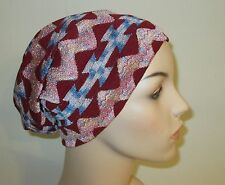 Chemo Slouch Hat Ethnic Cranberry Alopecia  Chemo Hat CancerHat Stretch Knit USA