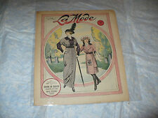 MODA FIGURINI RIVISTA FEMMINILE FRANCESE LA MODE N.40 1913 CARTAMODELLO DECALCAB