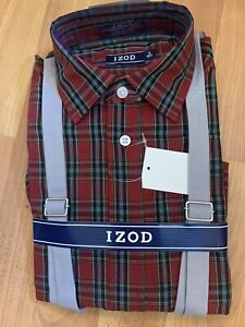 BOYS IZOD RED PLAID LONG SLEEVE BUTTON DOWN SHIRT WITH SUSPENDERS SIZE 8 REGULAR