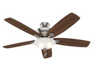 "Hunter, Regalia II 60"" Brushed Nickel LED Indoor Ceiling Fan w Marbleized Glass"