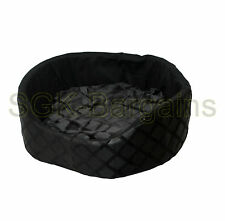 Black LARGE Round Fabric & Foam Puppy Pet Dog Cat Nesting Bed Mat Basket Washabl