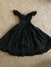 Vintage Gunne Sax Size 3 Black Dress Off The Shoulders Corset Boning Gothic
