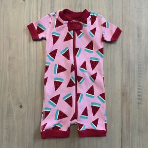 Hanna Andersson Pink & Red Watermelon Zip Up Romper Baby Infant Size 3-6 Months