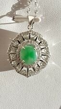 Genuine Nice Green 3ct Icy Jadeite Jade(Type A) 925 Silver Pendant with Chain