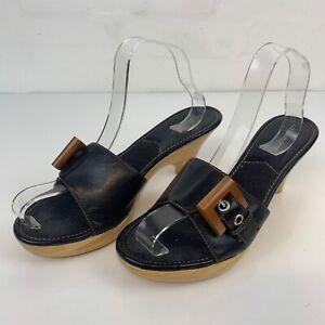 Liz Claiborne Womens Wooden Kitten Heel Open Toe Black Shoes Leopard Lining UK 6
