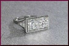 2.20CT Round Diamond 2 Stone Edwardian Art Deco Vintage Ring 925 Sterling Silver