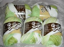 "5 Skeins, Lily, ""Sugar 'N Cream"", Lime Stripes, 100% Cotton Yarn"