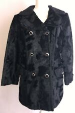 Beautiful Black Pea Coat Beeline Faux Fur Made In Italy Women's Large 12-14 #A4