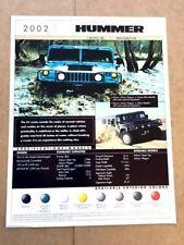 2002 Hummer H1  1-page Original Car Sales Brochure Fact Card