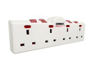 4 Way Gang Surge Protected Wall Socket UK Plug Adaptor Convert 13A Neon Switched