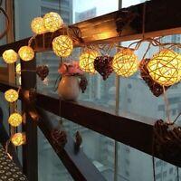 Rattan Ball LED String Light Warm White Fairy Light Valentine's Day Decor Lights