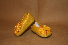 Doll Clothes fitting 18 in American Girl Doll Gold Sparkle S/O Shoes w Hearts