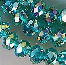 70pcs, vert paon cristal  perles en vrac , 8x6mm