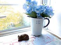 VINTAGE  ENAMEL JUG - OLD MEASURING JUG - 40 OZ JUG - WHITE BLUE ENAMEL JUG
