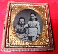 Antique Tintype Twin Sisters 1/6 Plate 1/2 Case