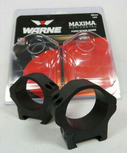 WARNE Maxima Horizontal 30mm Low Scope Rings - Black - USA MADE (513M)