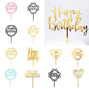1pc Acrylic Cake Topper Happy Birthday Cake Toppers Party Cupcake Topper Decor