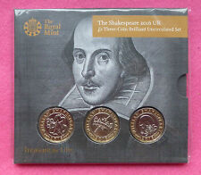 2016 SHAKESPEARE £2 TWO POUND  THREE COIN BU SET - NEW AND SEALED