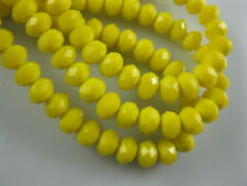 Bulk 200Ps Opaque Yellow Crystal Glass Faceted Rondelle Bead 4mm Spacer Findings