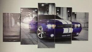 Set of 5 Framed Canvas Picture Prints - Car Series - Challenger
