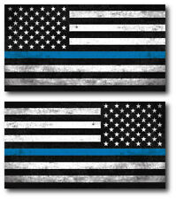 2 I support Police Officer Thin Blue Line American Flag decal sticker Window Car