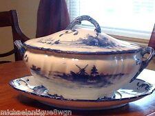 "Lg Antq Royal Doulton Burslem  ""Norfolk"" Flow Blue Cov'd Tureen With Underplate"