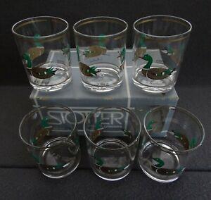 HJ Stotter SET (6) Plastic Drinking Glasses Mallard Duck Tumbler MCM Acrylic USA