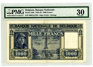 Belgium ... P-128b ... 1000 Francs ... 1945 ... *VF+* PMG 30