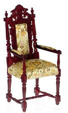 Dolls House Charles II Mahogany Elbow Arm Chair Platinum Study Furniture