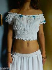 TOP bianco danza del ventre orientale cotone danza orientale costume belly dance