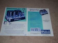 McIntosh Ad, 1956, MC-60 Tube Amp, C-8 Preamp, Article