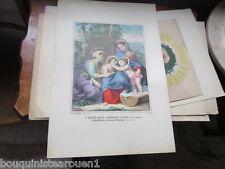 Gravure sur bois l'enfant Jésus caressant Saint Jean XIXè Pellerin Image Épinal