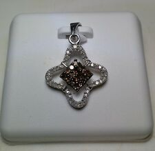 .35cttw Chocolate & White Diamonds Open 4 sided Sterling Silver Pendant #3443