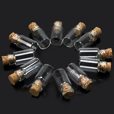 10pcs Tiny Clear Glass Bottles DIY Wishing Necklace Pendant Empty & Cork Vials