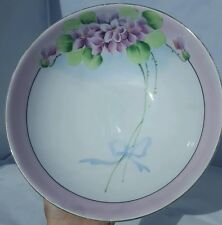 """Vintage MEITO CHINA Purple Floral Hand Painted 8.5"""" bowl, Made in Japan"""