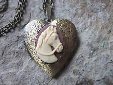 HORSE CAMEO BRONZE HEART LOCKET - ANTIQUE LOOK, HORSE LOVER