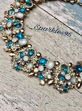 Ladies Vintage Statement Necklace Zara Chain Crystal Choker Chunky Bib Ice Blue