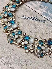 Señoras Vintage collar de declaración Babero Cadena Cristal Gargantilla Gruesa Zara Azul Hielo