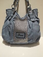 Brand New Guess Furious Faux Leather Blue Color Large Size Shoulder Handbag
