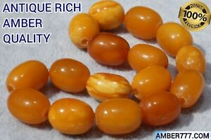 VERY VALUABLE AUTHENTIC HIGH CLASS ANTIQUE NATURAL BALTIC AMBER BRACELET 13 G