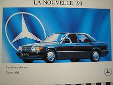 rare brochure MERCEDES 190 ESSENCE & DIESEL  / COULEURS / FRANCAIS