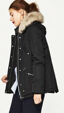 Zara Black  Parka Coat With Fur Hood  Quilted Lining Size XS Uk 6/8 Genuine